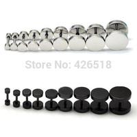 3 4 5 6 7 8 9 10 12 14MM Diameter White Black titanium steel hip-hop rock dumbbell Men Screw Stud Earrings