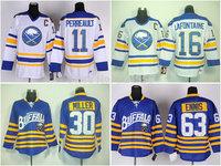 Buffalo Sabres jersey 16# Pat LaFontaine 11# Gilbert Perreault  30# Ryan Miller 63# Tyler Ennis Hockey Jersey Embroidered Logos
