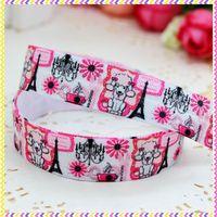 5/8'' Free shipping Fold Over Elastic FOE poodle printed headband headwear hair band diy decoration wholesale OEM P3496
