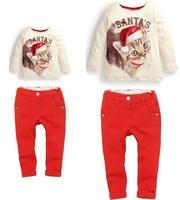 New kids christmas cat design clothing suits girls t-shirt+pants set children's leisure christmas clothing