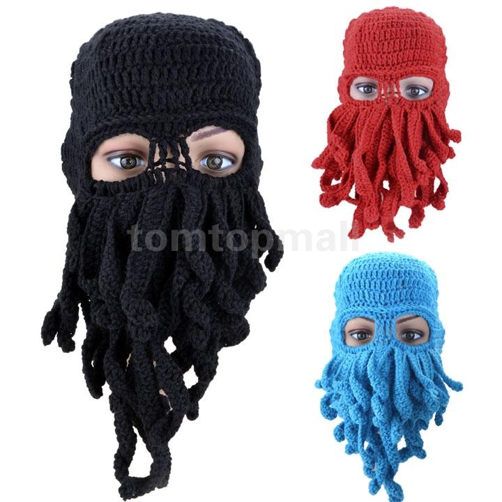 Men Winter Warm Mask Funny Beard Octopus Knitting Wool Hats Ski Cool Beanies Hat Black/Red/Blue(China (Mainland))