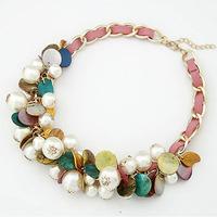 Hot Sale New 2014 Fashion Colorful  pearl choker Women Necklace Vintage necklaces pendants Charm Women Brand jewelry 5 colors