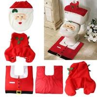 LS4G 2014 New Xmas Decoration 3PC Santa Claus Toilet Seat Cover and Rug Bathroom Set Christmas Decoration