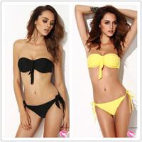 Drop Shipping Padded Swimwear Bandeau Top Bikinis Set Bathing Suit Sexy Brand Swimsuits For Women Bow Biquini BLack & Yellow