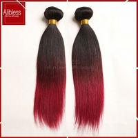1b/99j/burgundy ombre Brazilian hair,3pcs lot Brazilian virgin hair straight ombre hair extensions,Brazilian straight hair weave