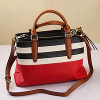 2015 Multipocket Women's Genuine Leather Handbags Patchwork Striped Cowhide Designer Ladies Shoulder Bags Casual Crossbody Bag