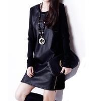 M-XXL European style Fat Women 2014 Autumn Winter Slim long-sleeved Plus velvet Pu leather Straight Dresses Big size