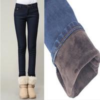 2014 Winter Fleece Plus Size Women Jeans  Warm Thicken Fleeces High Waist  Pencil Pants Plus Size Skinny Denim Trousers CH3