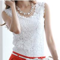 2014 Fashion New Blusas Women Lace Blouse Summer Casual Blusas Femininas Sleeveless Lace Tops Crochet Shirt Free Shipping YYJ755
