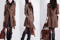 Warm Women's Winter Belted Wool Jacket Overcoat Parka Windbreaker Trench Coat