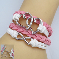 DIY  fashion  Leather Cute Infinity CharmTwo color mosaic Bracelet  Connected by a heart-shaped and made of 8-shaped