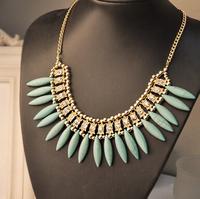 New Design Bohemia Turquoise fringe Rhinestone Necklace Fashion Pendants Necklace Statement Jewelry Crystal Choker For Women