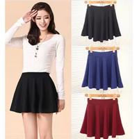 Pleated Solid Mini Skirt Summer&Autumn&Winter Soft Sexy Empire Women Skirt Waist Slim Pleated Skirt Daily Party Beauty Dressing