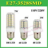 3W 5W 7W Bright LED Lamp E27 B22 E14 GU10 G9 48 60 108 LED Corn Bulb AC 110V 220V 230V 240V 3528 SMD Light