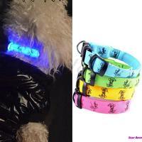 Adjustable Lovely Pet Dog Flashing Safety Nylon Night Glow Collar LED Lights Free Shipping
