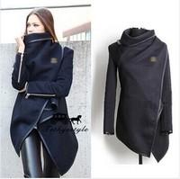 Fashion 2014 Winter Coat Woemn Female Warm Woollen Long Sleeve Overcoat Fashion Trench Wool Coats Black clothes S-XXXL F-34