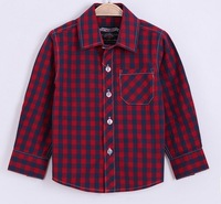 Spring 2015 new European and American style children's fashion long-sleeved plaid shirt