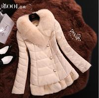 EMS Free shipping 2015 new winter women's long section of sheep skin fox fur of Rex rabbit fur coat Leather down jacket (M-2XL)