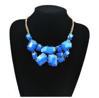 Free Shipping Irregular acrylic stone mosaic jelly Necklace Charm Fashion Elegant choker 2014 New brand Wedding Jewelry