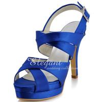 "Fashion shoes EP11092-IPF Blue US 4/EU 35  Women 4.5"" Heel Height Satin Evening Party Wedding Sandals"