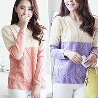 2014 Fashion Women Sweater Knitted Winter Warm Oversized Sweater Female Casual Patchwork Vintage Cardigan Free Shipping YYJ757