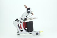 Tattoo Machine New Sale Electric 2014 Trendy Handmade Tattoo Machine Gun Silver White Color 10 Wrap Coils Shader Liner Supplies