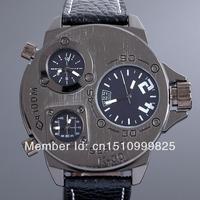 Punk Rock Men Three time zones mens wrist watch timepieces military precision Japanese quartz movement