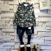 wholesale children's clothing boutique boy high-grade plus velvet cowboy flower shirt