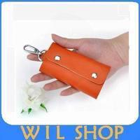 DHL Free shipping 100pcs/lots Portable Leather Key Bag Case Rings KeyChain Bag Key Wallets Holder Purse