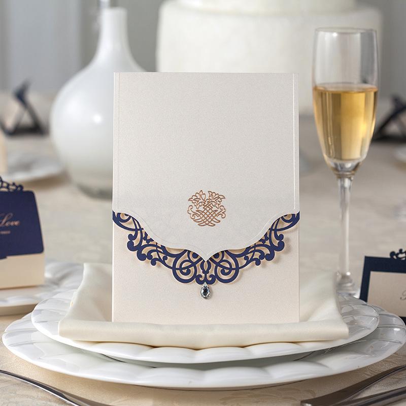 Blue Elegant Laser Cut Wedding Invitations 2014 Laser-cut Wedding Invitation Cards with Free Shipping Convites De Casamento(China (Mainland))
