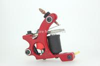 Tattoo Machine New Sale Electric 2014 Fashion Handmade Tattoo Machine Gun Silver Red Color 10 Wrap Coils Shader Liner Supplies