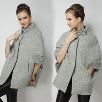 High Quality Spring Autumn Fashion Women Dolman Sleeves Woolen Trench Jacket Coat Mid-Long Brand Wool Outerwear Wave Collar