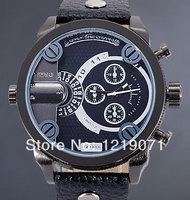 Punk Rock Men Fashion All Black Dual Timezone ZEIGER Steampunk Men Military Quartz Wrist Watch
