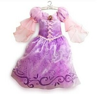 2014 Children Kids Christmas Cosplay Dresses Rapunzel Costume Princess Wear Dresses Perform Clothes  free shipping