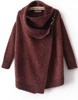 Free Shipping 2014 Women Brand Clothing New Autumn/Winter Fashion Casual Wine Red Draped Turtleneck Long Sleeve Cardigan Sweater