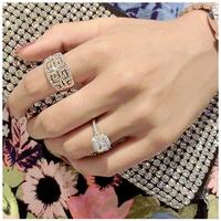 2014 Free Shipping OL Beauty  Fashion Temperament  South Korea Luxury Full Drill Shiny Crystal Ring Women In Europe