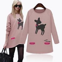 M-5XL 2014 Fall Winter Women European Style Animal Print Cute Casual Loose Knitted Sweatshirt Blouses Big size XXXL 4XL