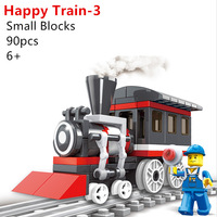 90pcs/set Original WG Brand Quality Happy Train 3 Building Blocks Bricks Compatible with Lego Particles Eudctional DIY Toys