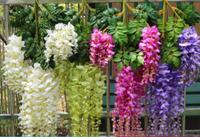 Hot Romantic Artificial Flowers Simulation Wisteria Vine Long&Short Plastic Silk Plant For Home Party Wedding Garden Decoration