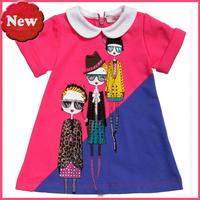 dress girl 100% Cotton Girls  Children  Baby Girl Long sleeve t shirts princess dress free shipping
