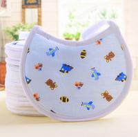 Free Shipping 5 pcs Round Baby Girl Boy Towel Saliva Bibs Infant Eco Cotton Lunch Bib For Baby Children Kids Burp Cloths Gift