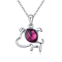 (111674)Alloy plated real gold with Austria Crystal Necklace - Naughty Dog