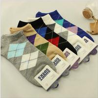 20 pairs/lot 100% Cotton New Arrival Spring And Autumn Classic Diamond Lattice Men Socks Slippers