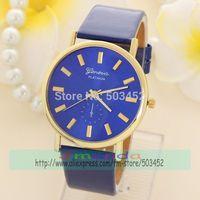 100pcs/Lot Nice Design Blue Dial GENEVA Brand Casual Watch Fashion Ladies Dress Quartz Watch Wholesale Price Leather Watch