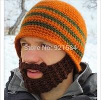 New novelty winter mask knit hat beard hat men beanie hats ski mask face mask crochet cap for happy day.skullies,ATL