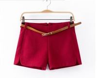 Women Casual Fashion Winter New High Quality Woolen Shorts With Belt 4 Color Plus size Zipper Candy Color Shorts(TK175)