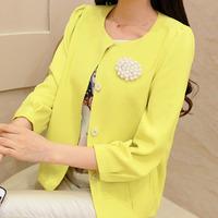2014 women's autumn outerwear pearl brooch thin small wrist-length sleeve short jacket female short design