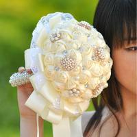 2014 New bride bouquet Hand Made Top quality pearl Silk Rose Flower bride Bridal wedding bouquet bridesmaid accessories X1719