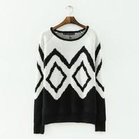 Stylish Geometrical Pattern Girl Casual Loose Sweaters for Winter Long Sleeve O Neck Women Warm Sweaters YS93478
