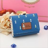 2014 new design fashion women lady cartoon girl short frosted wallet coin purse card holders handbag christmas gift PU